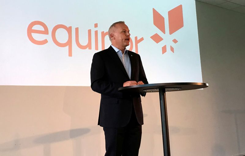 FILE PHOTO: Opedal, new CEO of Norwegian oil firm Equinor, speaks at news conference in Fornebu
