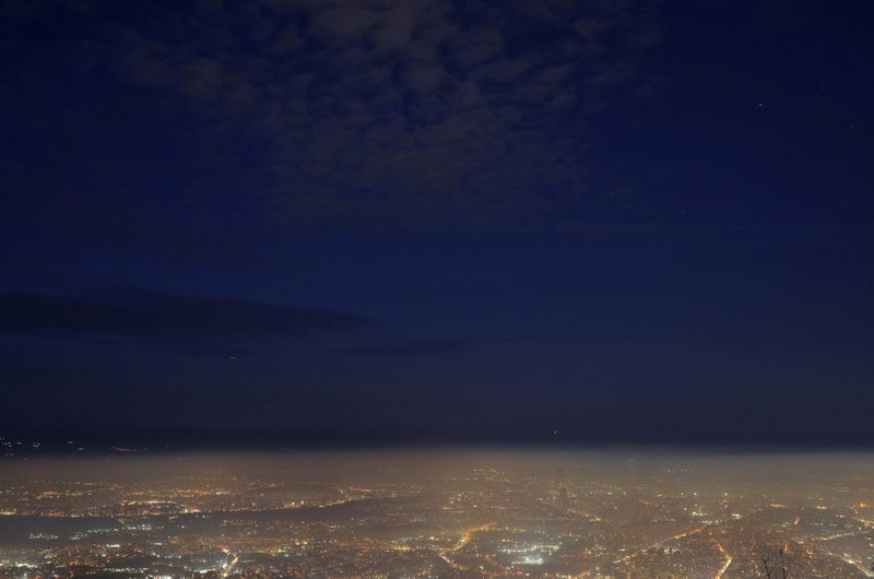 FILE PHOTO: General view shows the city of Sofia covered in smog