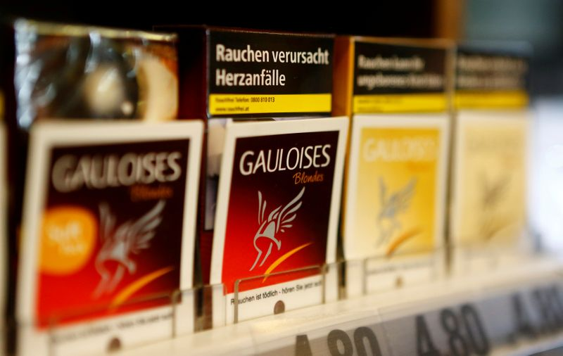 FILE PHOTO: Packs of Gauloises cigarettes are on display in a tobacco shop in Vienna