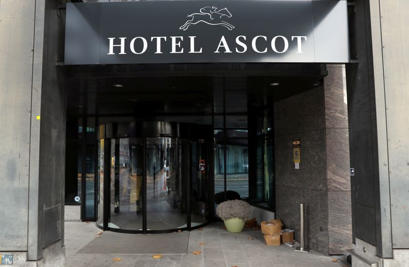 The entrance of the closed Hotel Ascot is seen in Zurich