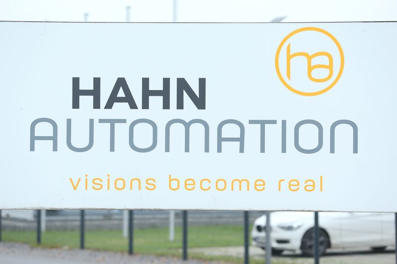 A company logo of HAHN Automation company is seen in Rheinboellen