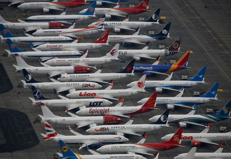 Dozens of grounded Boeing 737 MAX aircraft are seen parked at Grant County International