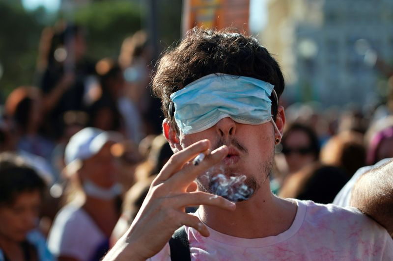 FILE PHOTO: Protest against the use of protective masks during the coronavirus disease