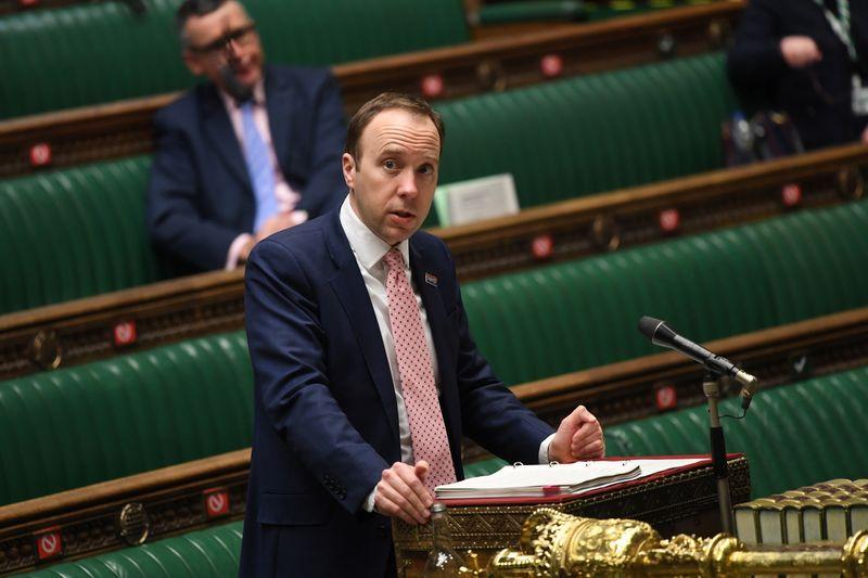 Britain's Health Secretary Matt Hancock delivers a statement on the coronavirus disease