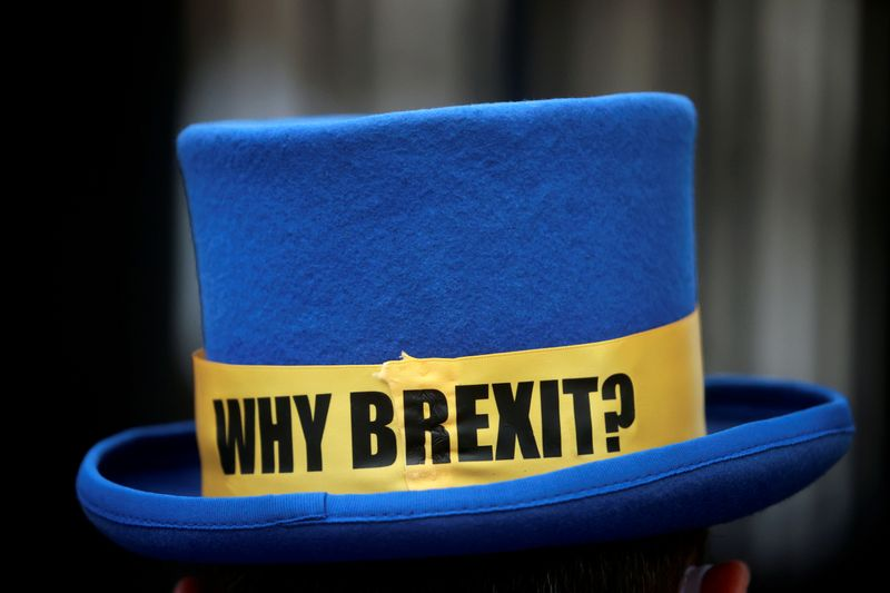 FILE PHOTO: The hat of anti-Brexit protester Steve Bray is pictured outside the gates of