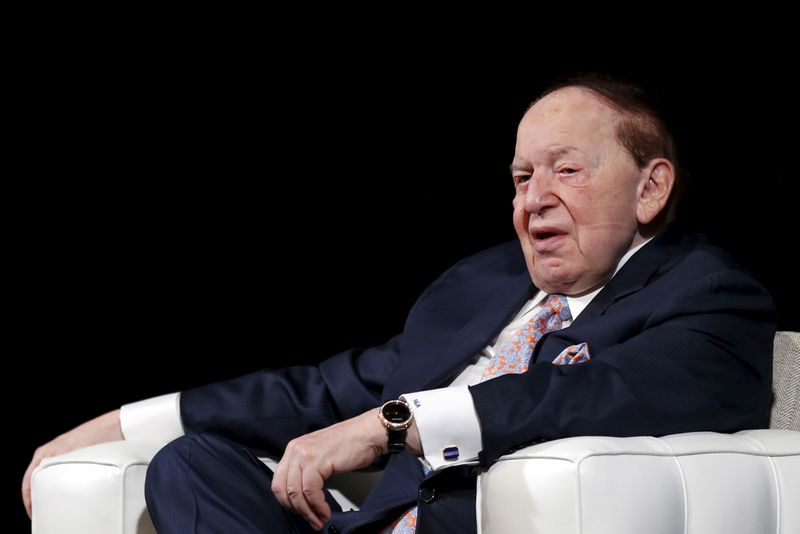 FILE PHOTO: Gambling giant Las Vegas Sands Corp's Chief Executive Sheldon Adelson speaks during