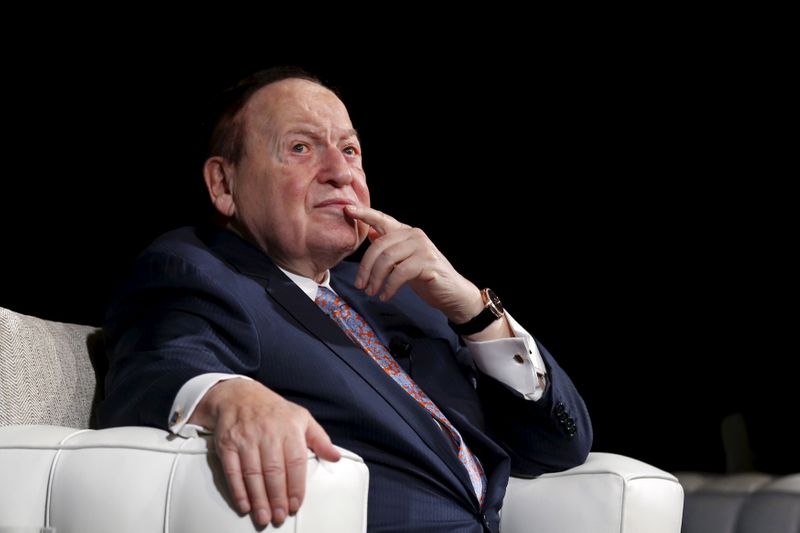 FILE PHOTO: Las Vegas Sands Chairman and CEO Sheldon Adelson speaks during a news conference at