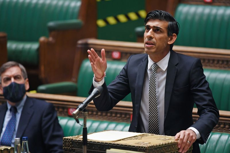 FILE PHOTO: British finance minister Rishi Sunak speaks at the House of Commons in London