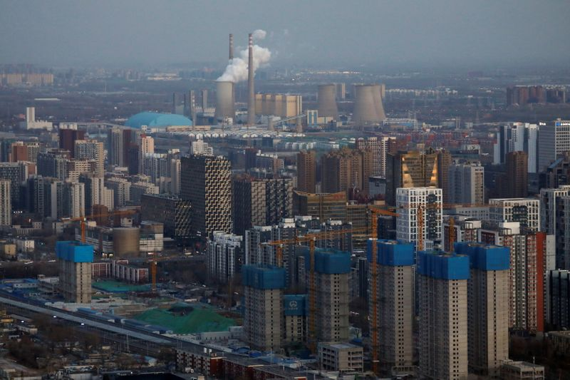 Residential buildings under construction are seen near the central business district (CBD) in