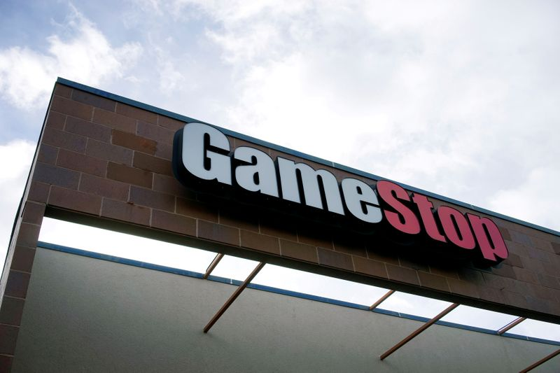 FILE PHOTO: The GameStop store sign is seen at its shop in Westminster