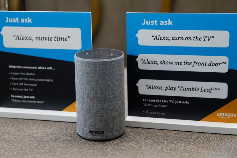 FILE PHOTO: Prompts on how to use Amazon's Alexa personal assistant are seen in an Amazon