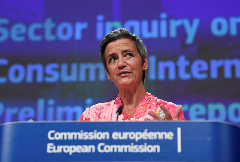 News conference on a competition sector inquiry at EU headquarters in Brussels
