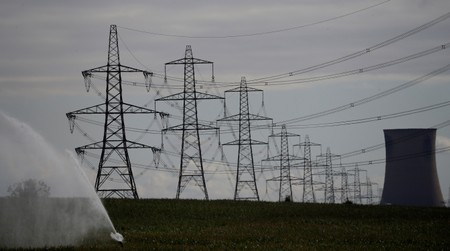 FILE PHOTO: Electricity pylons and a cooling tower from Eggborough power station are seen above